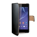 Celly WALLY437 - Funda Wally Xperia T3 Bk - Material: Similpelle; Color Primario: Negro / Naranja; Color Se