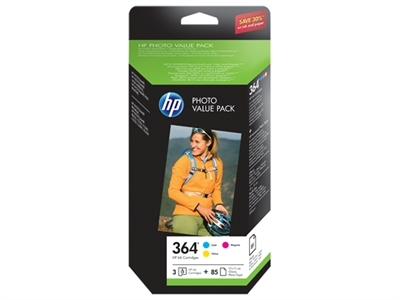 Hp T9D88EE#301 HP 364 Series Photo Value Pack - Paquete de 3 - amarillo, cián, magenta - blíster - cartucho de impresión / kit de papel - para Deskjet 35XX, Photosmart 55XX, 55XX B111, 65XX, 65XX B211, 7510 C311, 7520, eStation C510