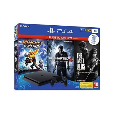 Sony 9731610 CONSOLA SONY PS4 1TB + 3 JUEGOS HITS VIDEOCONSOLA SONY PS4 1TB + 3 JUEGOS HITS Incluye: Ratchet Clank The Last of Us Uncharted 4 9731610
